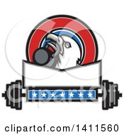 Retro Bald Eagle Head Holding A Kettlebell In His Beak In A Patriotic Design Above A Barbell
