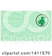 Retro Toy Miner Worker Holding A Shovel And Green Rays Background Or Business Card Design