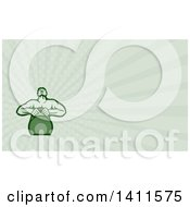 Clipart Of A Retro Muscular Male Bodybuilder Athlete Lifting A Kettlebell And Pastel Green Rays Background Or Business Card Design Royalty Free Illustration