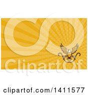 Clipart Of A Retro Bald Eagle Flying With A Chain And Towing J Hooks And Orange Rays Background Or Business Card Design Royalty Free Illustration