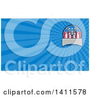 Clipart Of A Retro Bald Eagle Flying With Towing J Hooks And An American Flag On Blue Rays Royalty Free Illustration by patrimonio