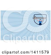 Clipart Of A Retro Cartoon White Male Mechanic Holding Up A Giant Spanner Wrench And Blue Rays Background Or Business Card Design Royalty Free Illustration