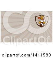 Clipart Of A Leopard Plumber Holding A Plunger And Monkey Wrench In Folded Arms And Rays Background Or Business Card Design Royalty Free Illustration