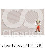 Cartoon Bulldog Man Mechanic With Folded Arms Holding A Wrench And Rays Background Or Business Card Design