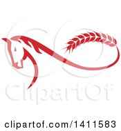 Clipart Of A Retro Red Horse With A Malt Wheat Tail Forming A Mobius Strip Royalty Free Vector Illustration