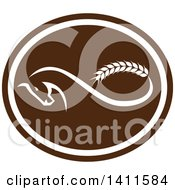 Retro Horse With A Malt Wheat Tail Forming A Mobius Strip In A Brown And White Oval