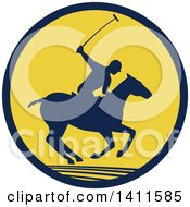 Clipart Of A Silhouetted Polo Player On Horseback Swinging A Mallet In A Navy Blue And Yellow Circle Royalty Free Vector Illustration