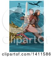Clipart Of A Watercolor Styled Knight Battling A Dragon And Protecting A Princess Near A Castle Royalty Free Vector Illustration
