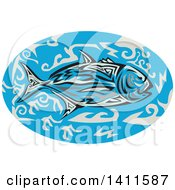 Clipart Of A Retro Tribal Art Style Giant Trevally Kingfish In An Oval Of Blue Water Royalty Free Vector Illustration