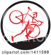 Clipart Of A Retro Male Cyclocross Athlete Running And Carrying Bicycle On His Shoulders In A Black White And Red Circle Royalty Free Vector Illustration by patrimonio
