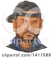 Watercolor African American Man Crying Wearing A Hat Backwards