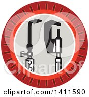 Clipart Of A Retro Welding Torch And Caliper In A Notched Circle Royalty Free Vector Illustration