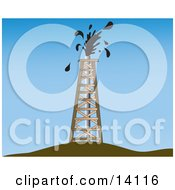 Oil Gusher Spurting Out Of A Drilling Tower Clipart Illustration