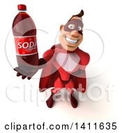 Clipart Of A 3d Buff Red White Male Super Hero On A White Background Royalty Free Illustration