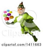 Clipart Of A 3d Buff White Male Green Super Hero On A White Background Royalty Free Illustration