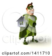 Clipart Of A 3d Buff White Male Green Super Hero On A White Background Royalty Free Illustration by Julos