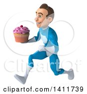 Clipart Of A 3d Young White Male Super Hero In A Light Blue Suit On A White Background Royalty Free Illustration by Julos