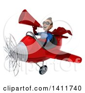 Clipart Of A 3d Young Brunette White Male Super Hero In A Blue And Red Suit Flying A Plane On A White Background Royalty Free Illustration by Julos