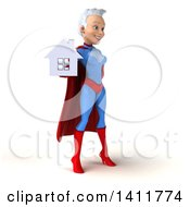 Clipart Of A 3d Young White Haired Caucasian Female Super Hero In A Blue And Red Suit On A White Background Royalty Free Illustration by Julos