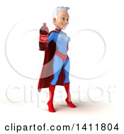 Clipart Of A 3d Young White Haired Caucasian Female Super Hero In A Blue And Red Suit On A White Background Royalty Free Illustration