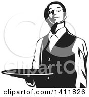 Clipart Of A Black And White Formal Male Waiter Holding A Tray Royalty Free Vector Illustration