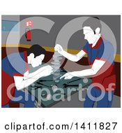 Clipart Of Male Mechanics Working On Car Parts In A Garage Royalty Free Vector Illustration by David Rey
