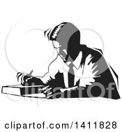 Clipart Of A Black And White Male Author Writing Royalty Free Vector Illustration