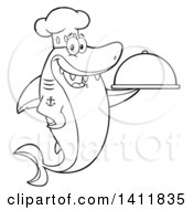 Cartoon Black And White Lineart Happy Chef Shark Mascot Character Holding A Cloche Platter