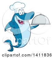 Cartoon Happy Chef Shark Mascot Character Holding A Cloche Platter