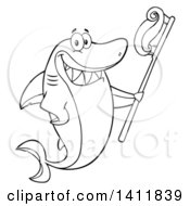 Cartoon Black And White Lineart Happy Shark Mascot Character Holding A Toothbrush