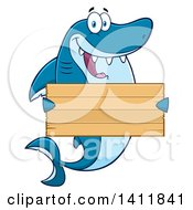 Cartoon Happy Shark Mascot Character Holding A Wooden Sign