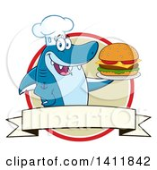 Cartoon Happy Shark Chef Mascot Character Serving A Cheeseburger In A Circle Over A Blank Banner