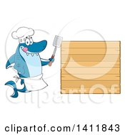 Clipart Of A Cartoon Happy Shark Chef Mascot Character By A Wood Menu Sign Royalty Free Vector Illustration