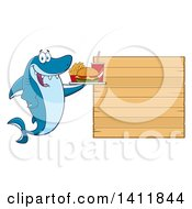 Cartoon Happy Shark Mascot Character Holding A Tray Of Fast Food By A Blank Menu Board