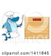 Cartoon Happy Shark Chef Mascot Character By A Wood Menu Sign