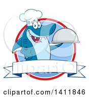 Clipart Of A Cartoon Happy Chef Shark Mascot Character Holding A Cloche Platter Over A Circle And Blank Banner Royalty Free Vector Illustration by Hit Toon