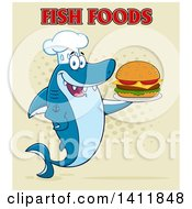 Cartoon Happy Shark Chef Mascot Character Serving A Cheeseburger With Text On Halftone