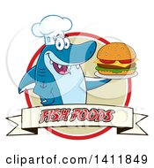 Cartoon Happy Shark Chef Mascot Character Serving A Cheeseburger In A Circle Over A Banner