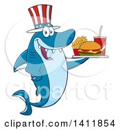 Clipart Of A Cartoon Happy Patriotic American Shark Mascot Character Holding A Tray Of Fast Food Royalty Free Vector Illustration