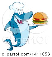 Cartoon Happy Shark Chef Mascot Character Serving A Cheeseburger