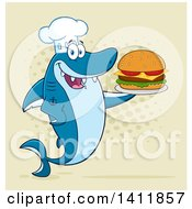 Cartoon Happy Shark Chef Mascot Character Serving A Cheeseburger Over Halftone