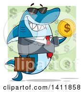 Cartoon Business Shark Mascot Character Wearing Sunglasses And Holding A USD Coin Over A Green Pattern