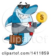 Clipart Of A Cartoon Business Shark Mascot Character Wearing Sunglasses And Holding A USD Coin Royalty Free Vector Illustration