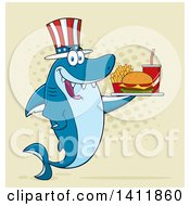 Cartoon Happy Patriotic American Shark Mascot Character Holding A Tray Of Fast Food Over Halftone