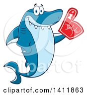 Cartoon Happy Shark Mascot Character Wearing A Foam Finger