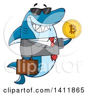Clipart Of A Cartoon Happy Business Shark Mascot Character Holding A Goden Bitcoin Royalty Free Vector Illustration by Hit Toon