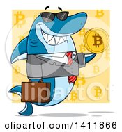 Cartoon Happy Business Shark Mascot Character Holding A Goden Bitcoin Over A Yellow Pattern