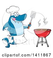 Cartoon Happy Shark Chef Mascot Character Cooking Beef Patties On A Bbq