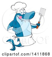 Cartoon Happy Shark Chef Mascot Character Holding A Spatula And Licking His Lips