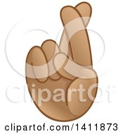 Clipart Of A Hand Emoji With Crossed Fingers Royalty Free Vector Illustration